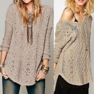 Free People Cross My Heart Cable Knit Sweater Tan